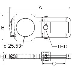 Technical drawing for tension clamp brackets