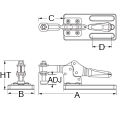 Technical Drawing for hold down clamps