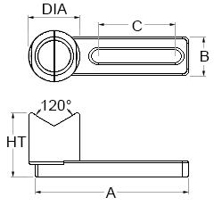 Technical drawing for V magnet with base