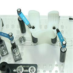 Plastic part held using 2-way & 4-way spring-loaded pin standoffs, Adjustable slides and Soft tip tension clamps