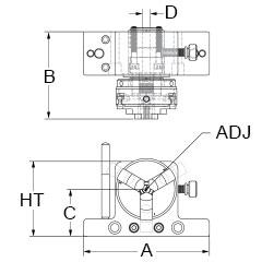 Technical drawing of rotating 3-jaw clamp