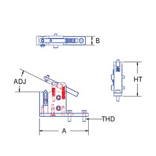 Technical drawing:  micro V spring clamp
