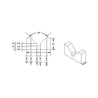 Technical drawing: micro V block