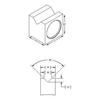 Technical drawing: Magnetic mini square V block