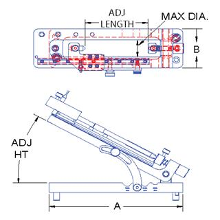Technical drawing:  sliding adjustable angle center