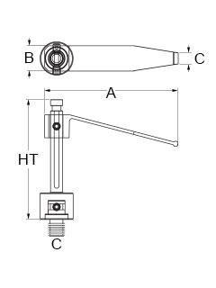 Technical drawing for positional tension clamp