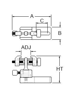 Technical drawing for micro vice clamp with base