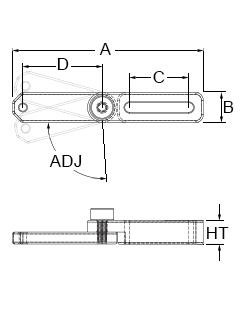 Technical drawing for adjustable slide acrylic extension