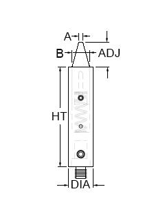 Technical drawing for 2-way and 4-way spring-loaded pin standoff